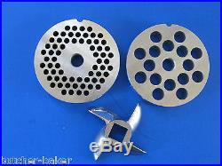 COMBO KIT #12 (2 3/4) Meat Grinder plates discs & KNIFE blade for Hobart etc