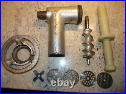 HOBART #12 MEAT GRINDER ASSEMBLY with EXTRA PLATES MIXER HUB GROUND BEEF COMPLETE