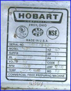 HOBART 4822 Commerical Meat Grinder #22 Hub 115V 1.5 HP