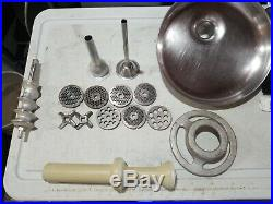 HOBART MEAT GRINDER ATTACHMENT with Pan & Stomper. Size #12 Parts Lot No throat