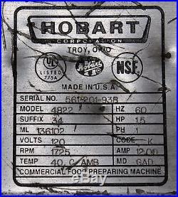 HOBART Model 4822 Countertop Meat Grinder Chopper 120 volts SN#561-201-938