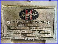 Hobart 4312 1/3 hp single phase meat grinder in excellent used condition