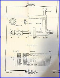 Vintage KitchenAid HOBART FC Food Chopper Meat Grinder Attachment (KA)